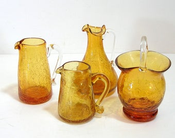 Amber Crackle Glass Miniature Basket And Pitchers