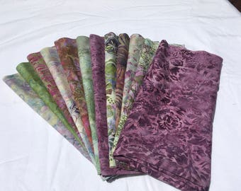 Orchid Sprouts Fat Quarters Hoffman Greens Purple Fuschia Quilting Sewing piecesofpine