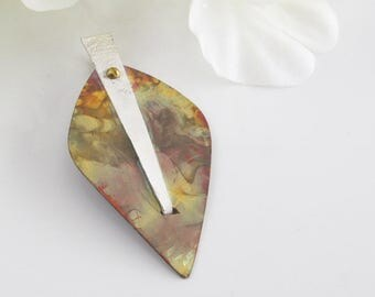 Mixed Metal Pendant, Copper and Silver Shield, Unisex Jewelry