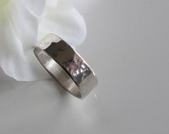 Wide Sterling Band, Hammered 925 Silver: Elegant Wedding Ring