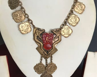 Vintage charm necklace . Chinese  Dragon Griffin . Costume jewelry