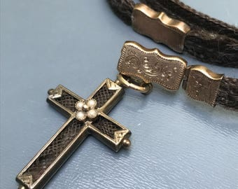 Antique Victorian  Necklace . Cross Charm . 10kt Gold  . Mourning Hair Jewelry
