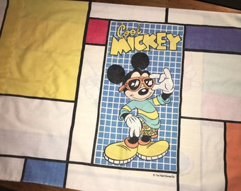 Mickey Mouse Pillowcase Reclaimed Bed Linens Fabric Standard Size Pillow Case 19.5 x 30.5 Disney