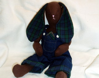 "Bunny doll -  brown flannel with homespun ears- 16"" tall - removable clothing"