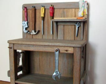 Miniature Work Bench with Tools 1:12 scale