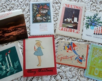 Folk Art Inspirations in Unique Designs in Vintage Christmas Card Lot No 983 Total of 8 Angel and Letter Card