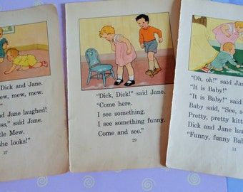 Original 1934 Dick and Jane Stories Pages including Baby Mother Father Little Mew and Spot Total of 6 pages