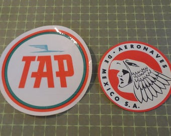 Vintage Travel Labels from TAP Portuguese Airlines and Aeornaves de Mexico 1960s Lot of 2