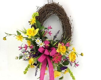ON SALE Spring Daffodil Wreath, Spring Wreaths for Front Door, Hot Pink Spring Summer Wreath, Easter Wreath, Spring Decor, Mother's Day Gift
