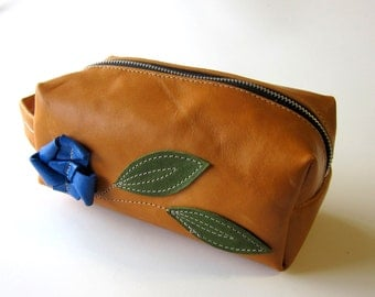 LEATHER Toiletry Bag Makeup Case Raw and Rustic - Unique Flower Bloom and Double Leaves on Stem