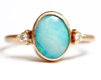 Boulder Opal Ring in 14k Gold - Diamond and Opal Ring - Oval Opal Ring - Flashy Blue Green Opal