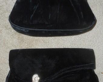 Vintage Black Velvet-Like Clutches or Evening Bags