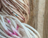 Handmade Paper - MCN merino cashmere nylon sock yarn fingering 375 yards speckle oatmeal pink magenta turquoise blue brown natural
