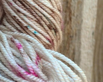 PRE-ORDER Handmade Paper - MCN worsted yarn 200 yards speckle oatmeal pink magenta turquoise blue brown natural