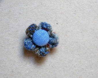Flower lapel pin. Tweed buttonhole. Men's boutonniere.  Grey, blue, burgundy, pale blue.