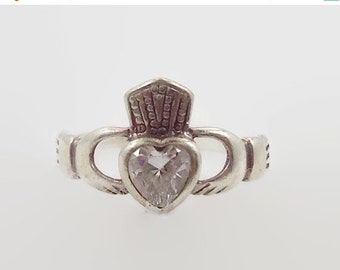 ON SALE Claddagh Ring, White CZs, Sterling Silver, Celtic Jewelry, Vintage Ring, Irish, 925, Size 6 1/4, Irish Wedding, Heart, Crown, Hands