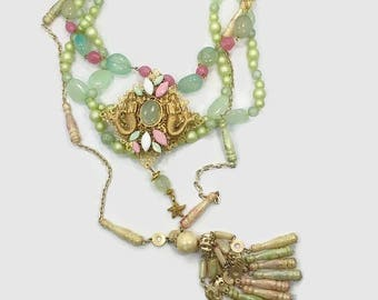 Mermaid Necklace, Tassel, Statement, Pastel, Starfish, Artisan, Pink, Mint Green, Gold, Set, Vintage Upcylced, OOAK, Assemblage, Recycled