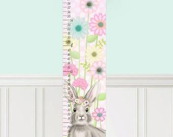 Canvas GROWTH CHART Sweet Bunny Flowers Garden Girls Bedroom Baby Nursery Wall Art GC0305
