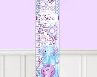 Canvas GROWTH CHART Aqua Purple Elephant Patterned Garden Girls Bedroom Baby Nursery Wall Art GC0306
