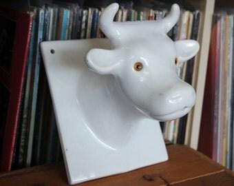 Cute Retro Ceramic Cow Head Mount Plaque