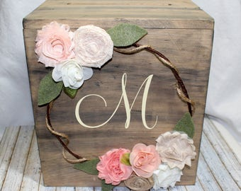 CARD BOX / Wedding Card Box / Card Box with Lid / Rustic Card Box / Barnwood Box / boho wedding decor / bohemian / Blush and Coral / Burlap