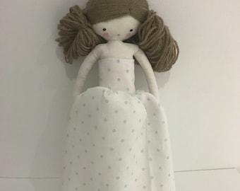 Marilyn handmade rag doll  cloth doll with long dress and bow
