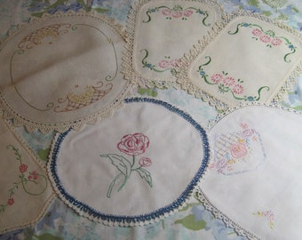 Set of Six Beautiful Linens Floral Embroidered Doilies