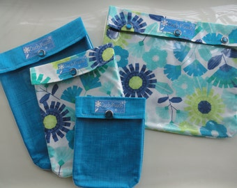Clearance Set Blue Floral Ouch Pouch 4 Piece Clear Front Organizers Diaper Wipes Meds First Aid Baby Supplies Overnight Cases Shower Gift