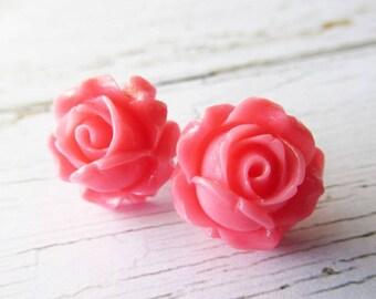 Candy Pink Resin Rose Stud Earrings