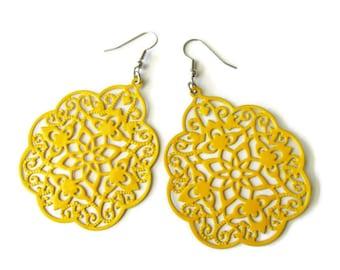 Yellow Hand Painted Moroccan Style Filigree Earrings , boho, ethnic, gypsy