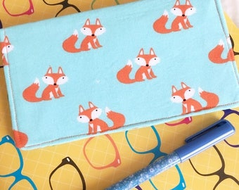Orange and Blue Fox Checkbook Cover