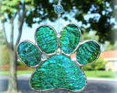 Paw Print Stained Glass Suncatcher in Bright Blue and Spring Green