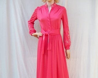 ON SALE 70s Coral Pink Maxi Dress size Small Embroidery Alison Ayres