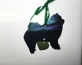 Chow Chow Silhouette Ornament in Stained Glass