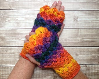 Dragon Scale Women's Fingerless Winter Gloves