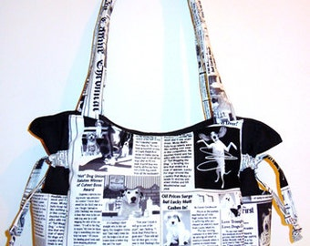 Dogs Newspaper Chronicals - Handbag, Purse, Tote, Shoulder Bag, Outside Pockets