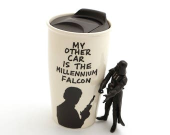 My other car is the millennium falcon travel mug , Star Wars travel mug , Han Solo , Father's day gift , gift for Dad, Men's gift