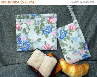 Sale 15% off Sandwich N Snack Bag Set,  Blue Flowers Print, Reusable