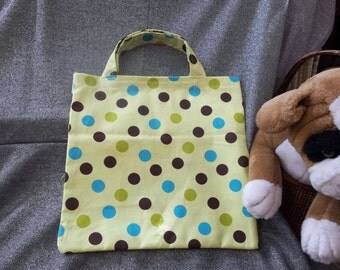 Book Lunch N Small Gift Tote Bag, Dark Polka Dots on Light Green Print