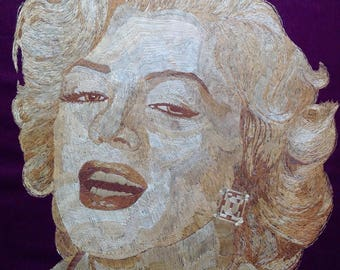 Marlyn Monroe portrait handmade with rice straw! Have U seen ancient rice straw art?Hollywood movie star in rice leaves. UNIQUE collectible