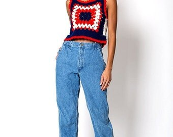30% OFF HOLIDAY SALE The Vintage Cottage Red Blue and White Knit Vest Tank