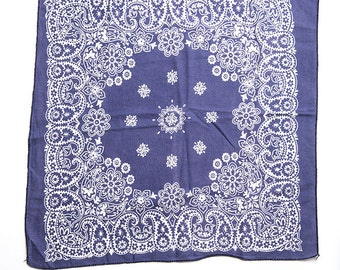 The Vintage Navy Indigo Blue Floral Paisley Cotton Bandana Hankerchief Scarf