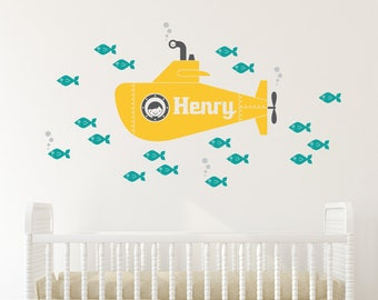 Yellow Submarine Boy Wall Decal Personalized Name Ocean Baby Nursery Underwater Sea Life Kids Nautical Room Theme Sub Decor
