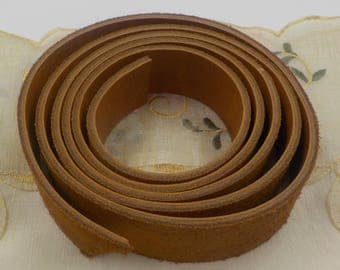 Vintage  Leather Belt strapping - Tan - Leather Accessory -64 1/2 inches - Craft Material - NOS - 1960 Era