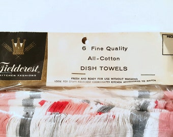 Package of Six Fieldcrest Dish Towels New Old Stock