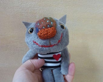 Little Kitty -  gray soft  plush and knited  toy