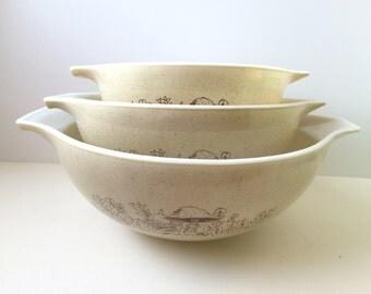 Pyrex Forest Fancies Cinderella Mixing Bowls, Set of Three