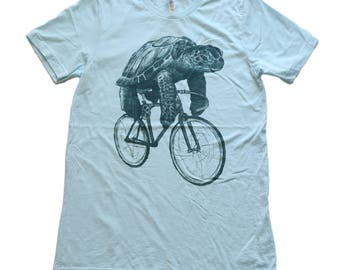 Sea Turtle on a Bicycle- Mens T Shirt, Unisex Tee, Tri Blend Tee, Handmade graphic tee, Bicycle shirt, Bike Tee, sizes xs-xxl