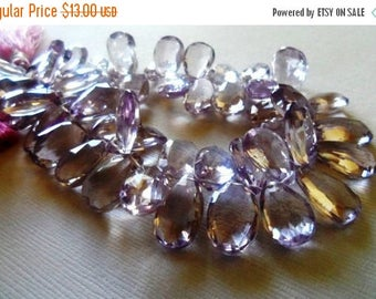 SALE Pink amethyst faceted pear briolette