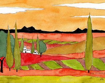 Tuscany Italy Landscape Watercolor Italian